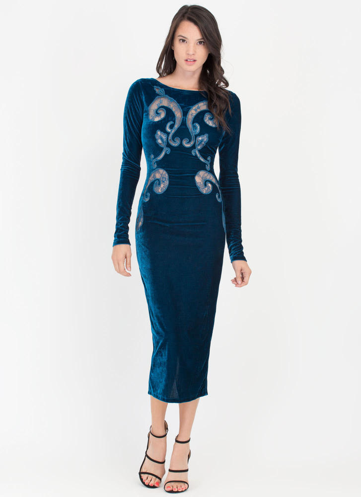 Velvet Portrait Sheer Filigree Dress