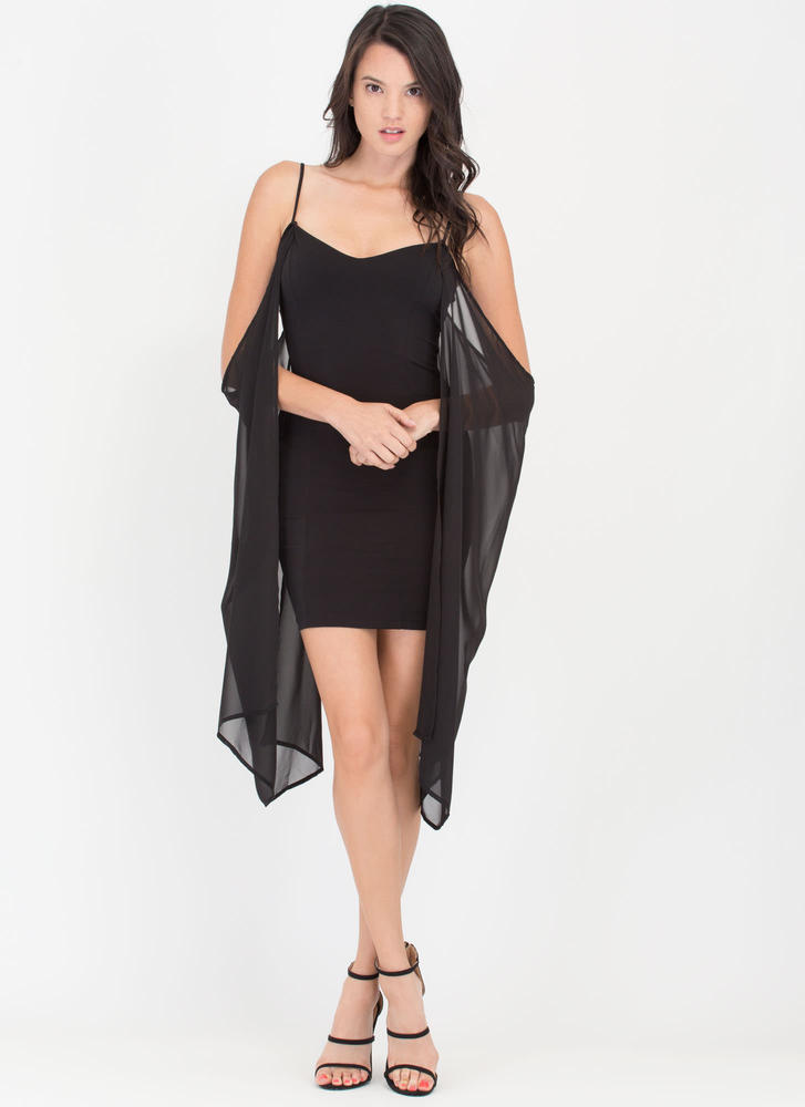 Pure Glam Chiffon Off-Shoulder Minidress BLACK (Final Sale)