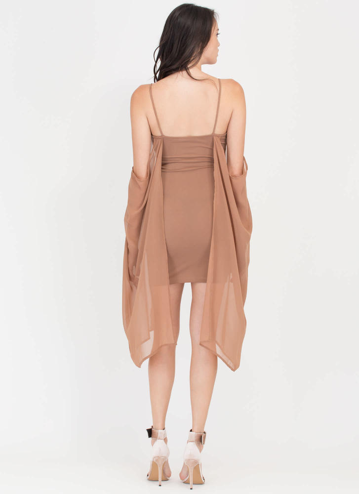 Pure Glam Chiffon Off-Shoulder Minidress MOCHA (Final Sale)