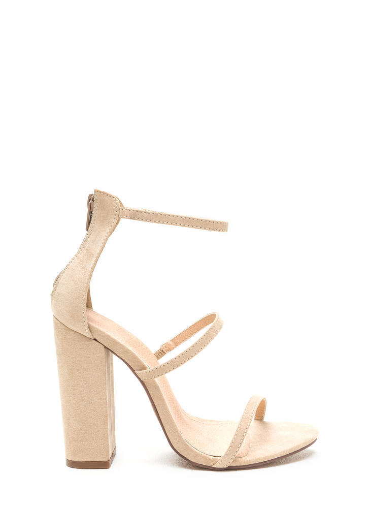 Rule Of Three Chunky Faux Suede Heels