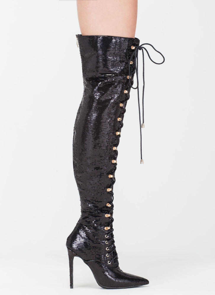 Walk Tall Sequin Thigh-High Boots BLACK