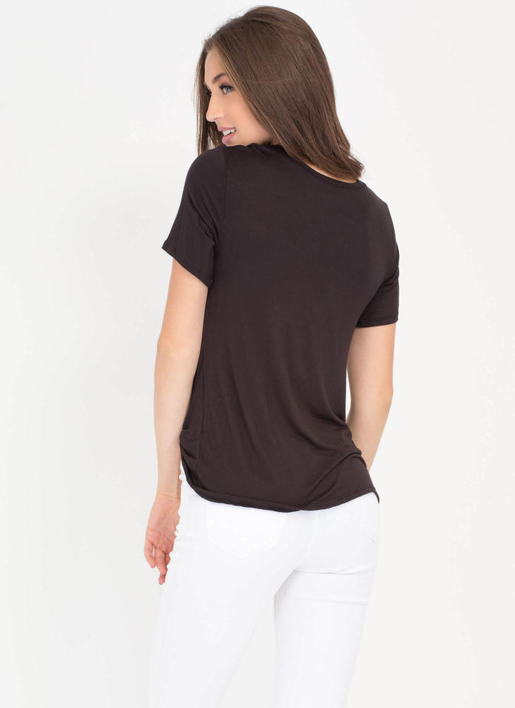 Pickup Artist Twisted Detail Top BLACK