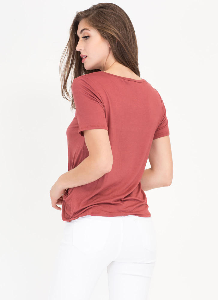 Pickup Artist Twisted Detail Top MARSALA