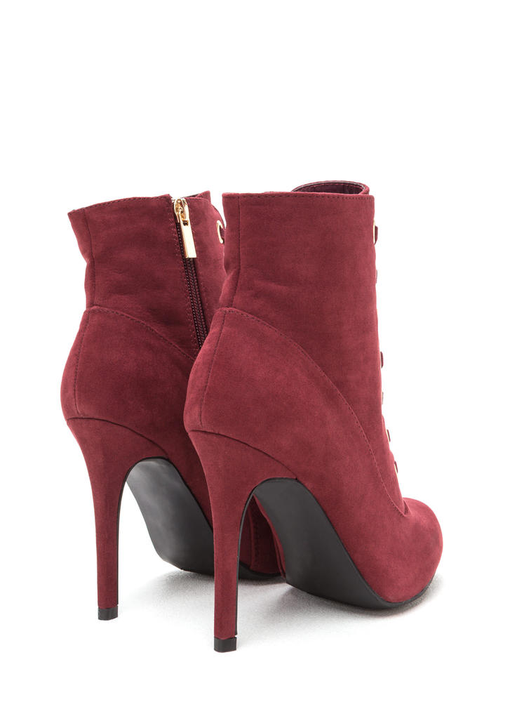 Under My Spell Lace-Up Stiletto Booties BURGUNDY (Final Sale)