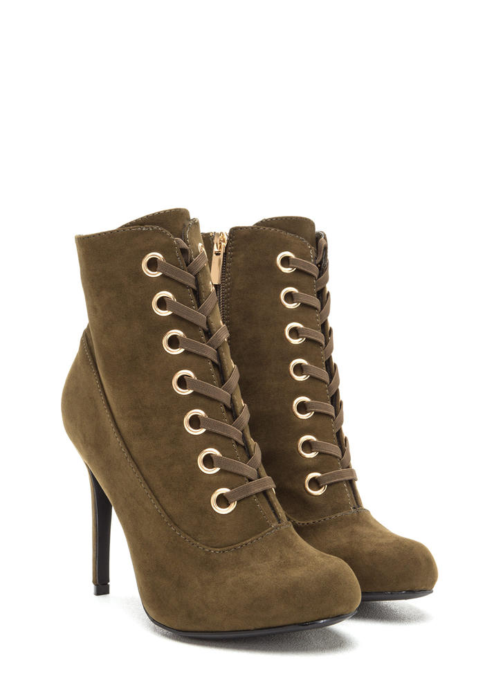Under My Spell Lace-Up Stiletto Booties OLIVE (Final Sale)