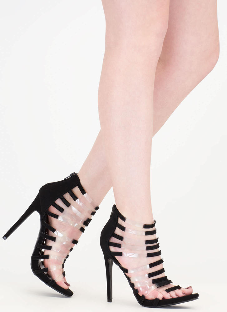Rung Number Clear Strap Caged Heels