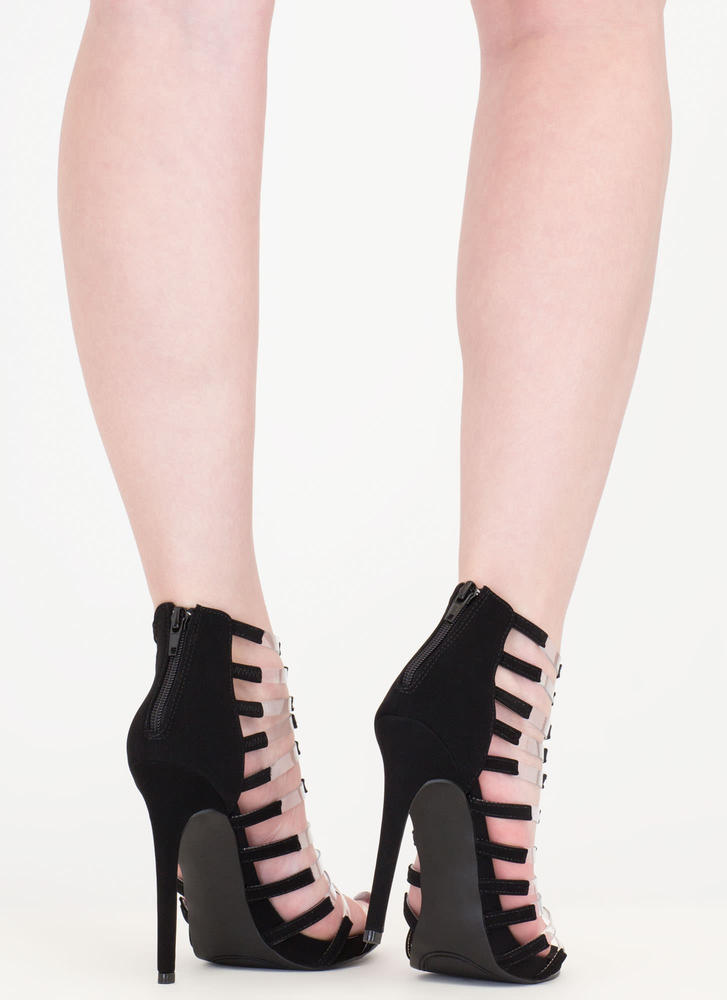 Rung Number Clear Strap Caged Heels BLACK (Final Sale)