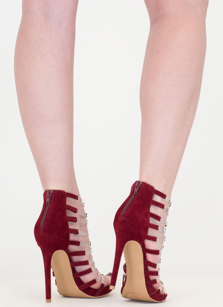 Rung Number Clear Strap Caged Heels WINE (Final Sale)