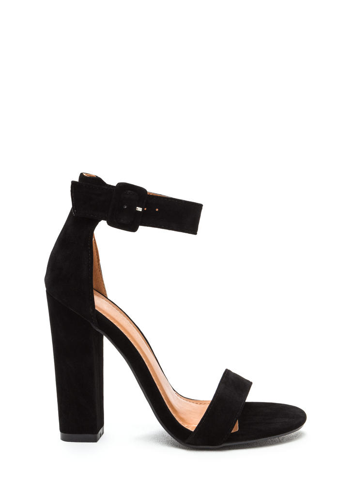 Perfection Chunky Faux Suede Heels BLACK