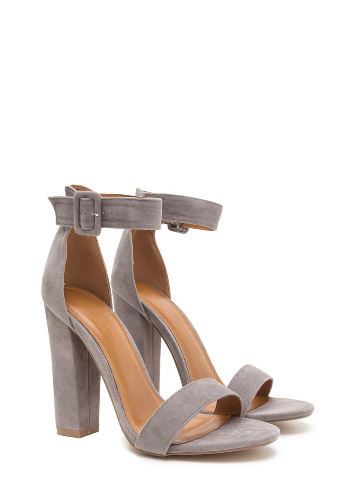 Perfection Chunky Faux Suede Heels GREY