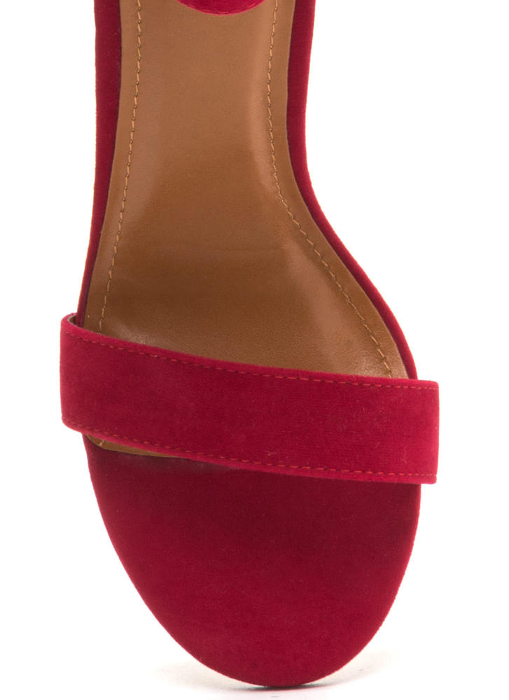 Perfection Chunky Faux Suede Heels RED