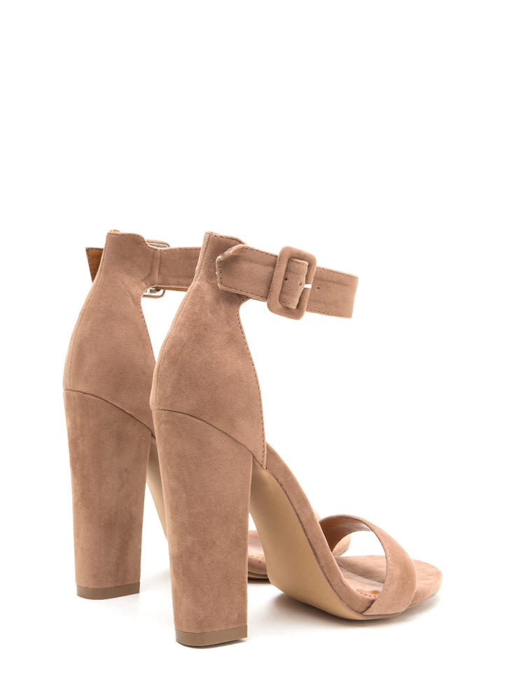 Perfection Chunky Faux Suede Heels TAUPE
