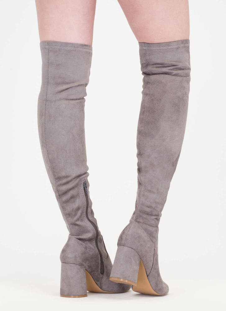 So Blocked Chunky Over-The-Knee Boots GREY