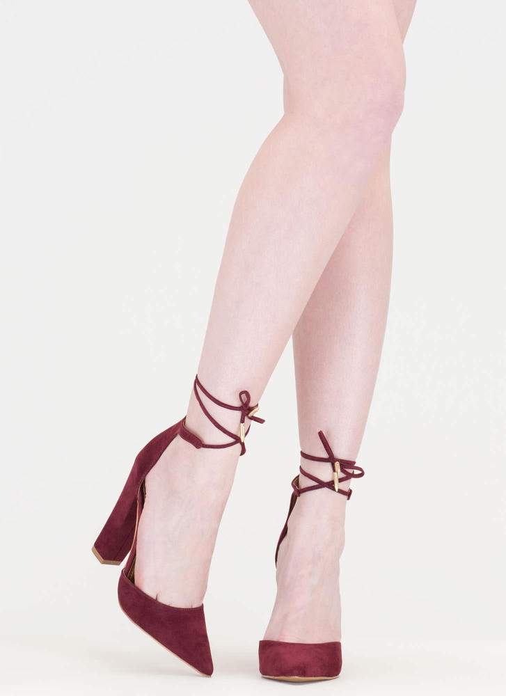 Tied For First Pointy Chunky Heels BURGUNDY