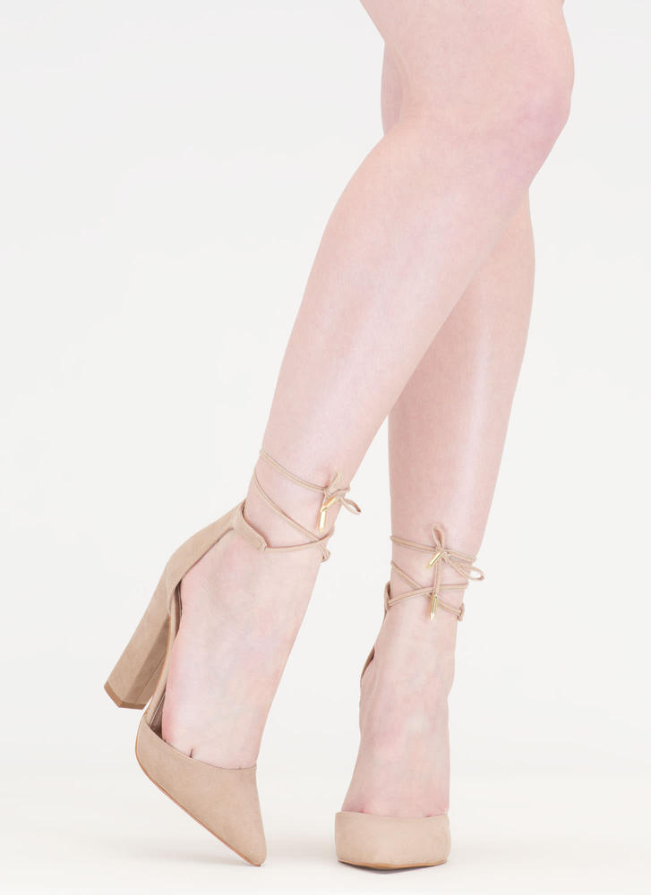 Tied For First Pointy Chunky Heels NUDE