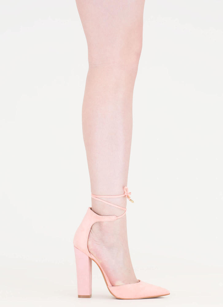 Tied For First Pointy Chunky Heels PINK