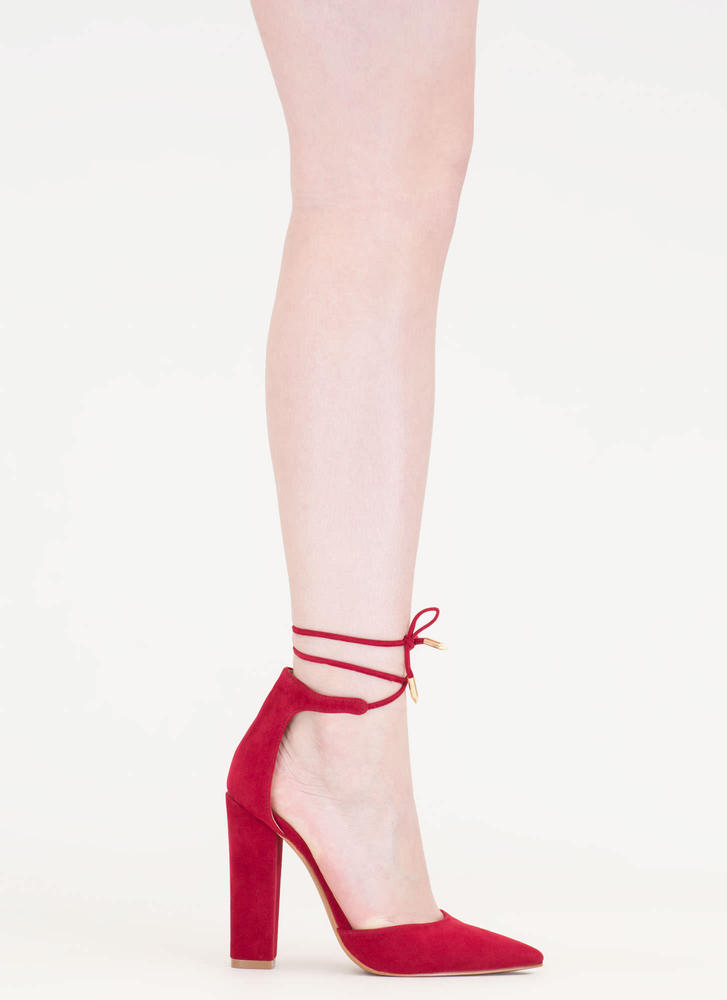 Tied For First Pointy Chunky Heels RED
