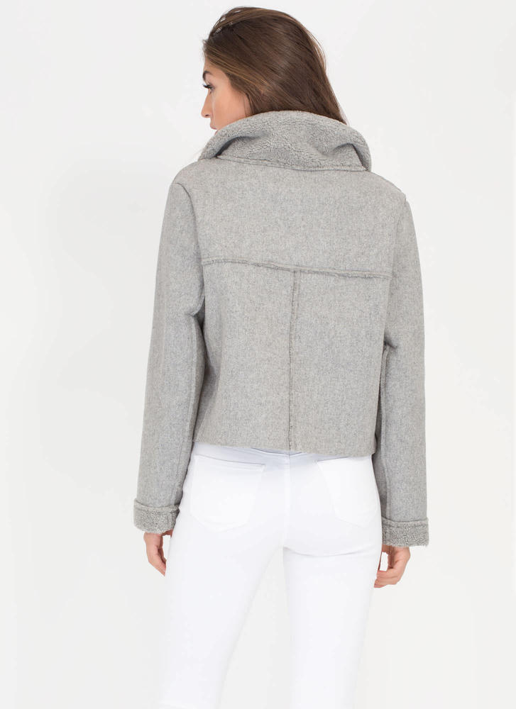 Street Fashion Faux Sherpa Moto Jacket GREY