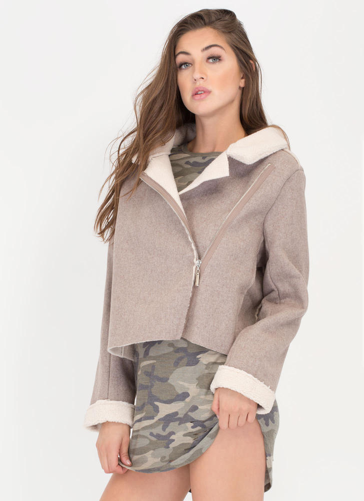 Street Fashion Faux Sherpa Moto Jacket TAUPE