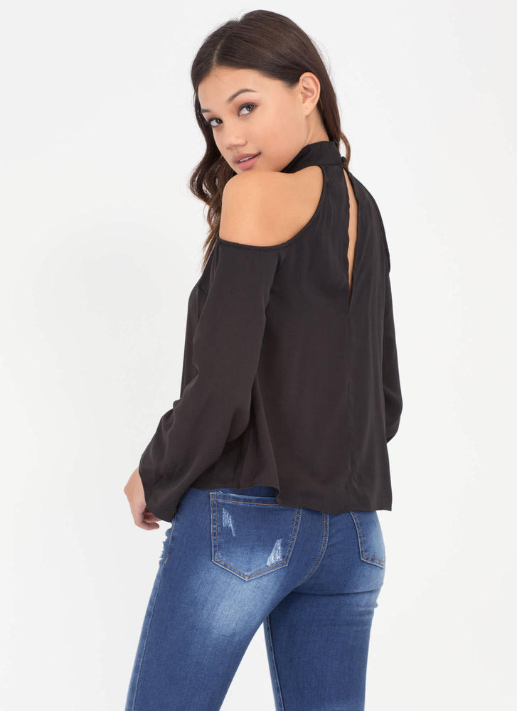 Flow 'N Behold Cold Shoulder Top BLACK
