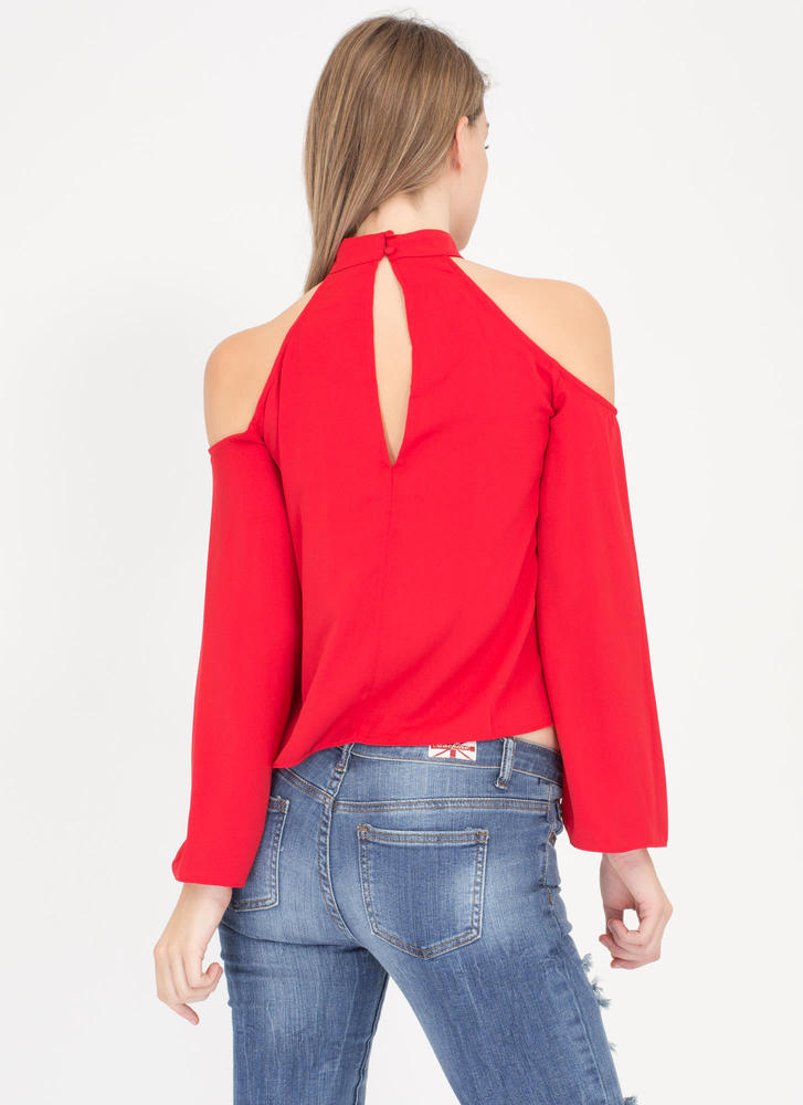 Flow 'N Behold Cold Shoulder Top RED