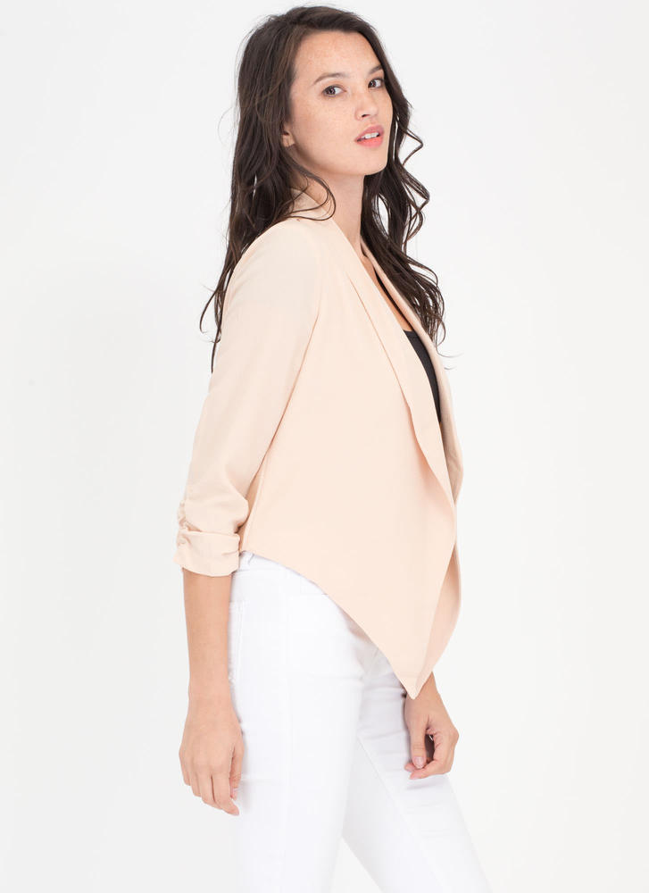 Workin' It Ruched Flyaway Blazer BLUSH