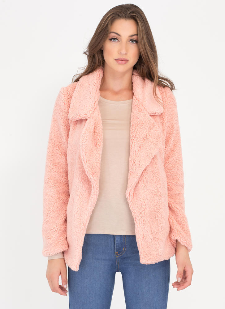 Fluff Piece Faux Shearling Coat BLUSH (Final Sale)