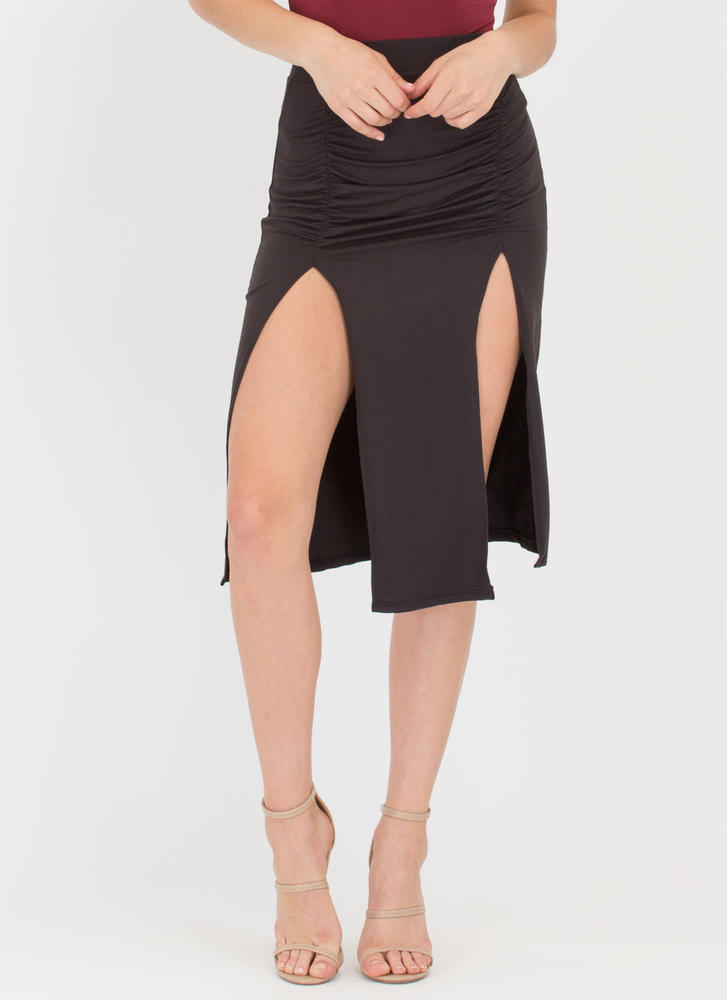 Two For One Ruched Double Slit Skirt BLACK (Final Sale)
