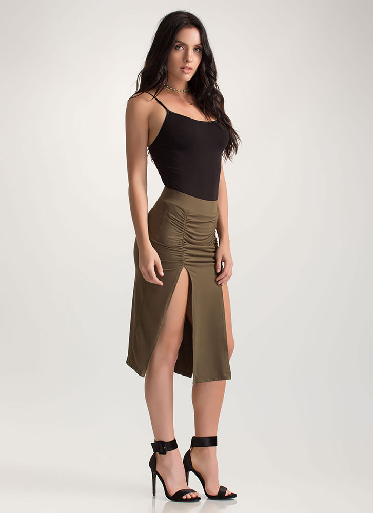 Two For One Ruched Double Slit Skirt OLIVE (Final Sale)