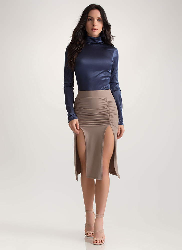 Two For One Ruched Double Slit Skirt