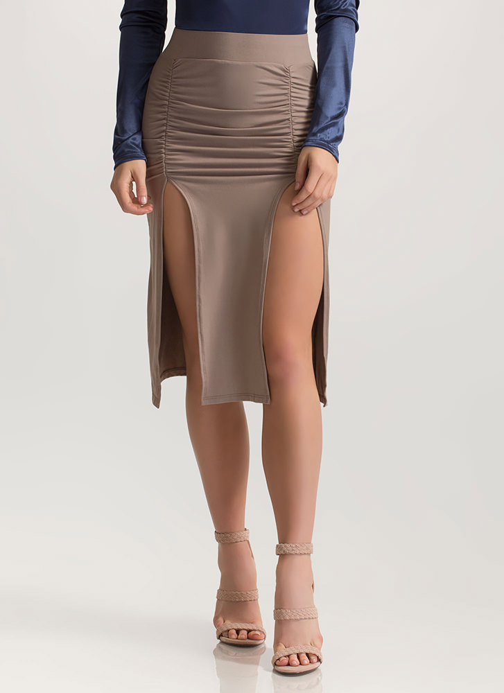Two For One Ruched Double Slit Skirt TAUPE (Final Sale)