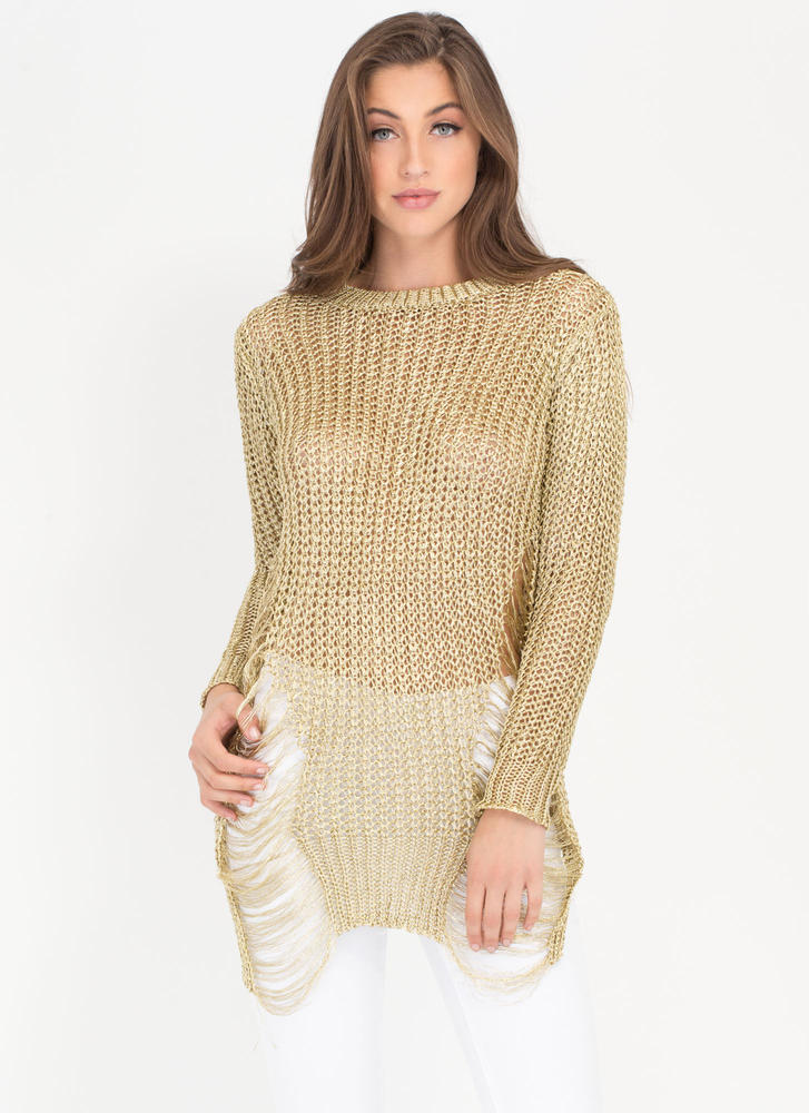 Gild To Go Distressed Metallic Sweater GOLD