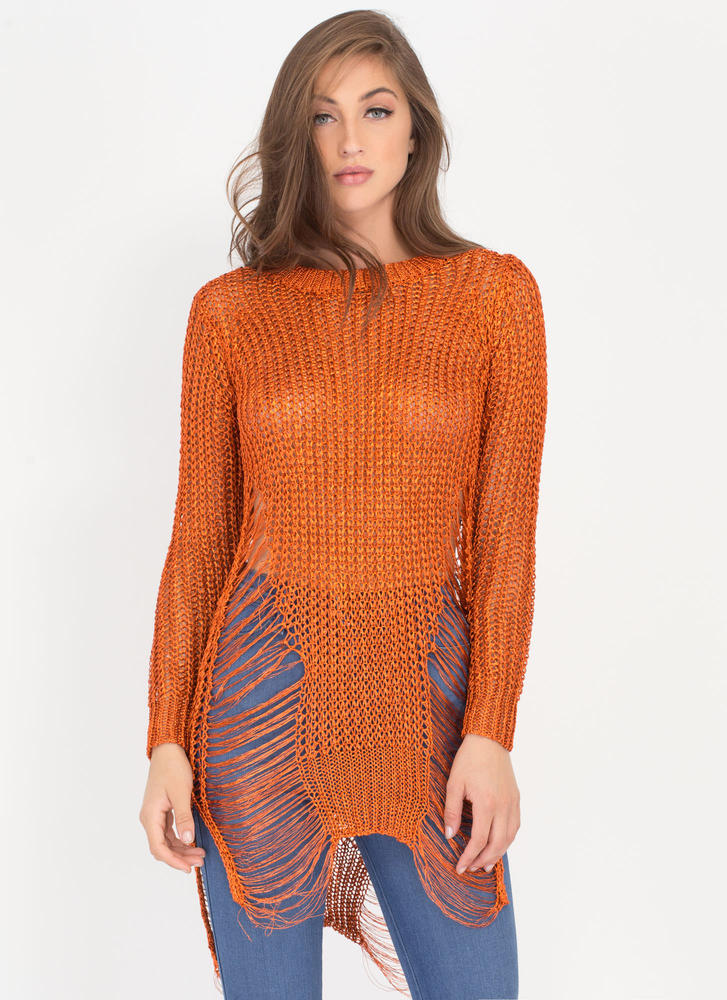 Gild To Go Distressed Metallic Sweater ORANGE