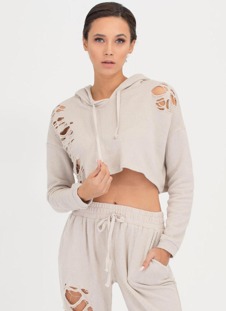 Shred-y Or Not Cropped Hoodie Top OATMEAL