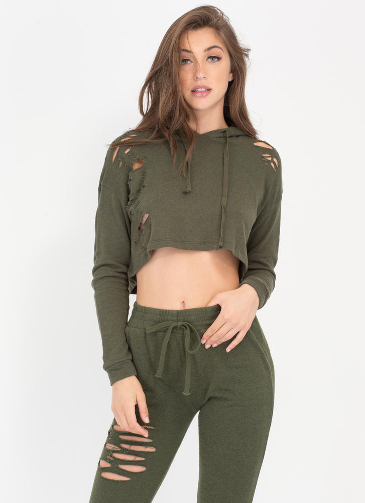 Shred-y Or Not Cropped Hoodie Top OLIVE