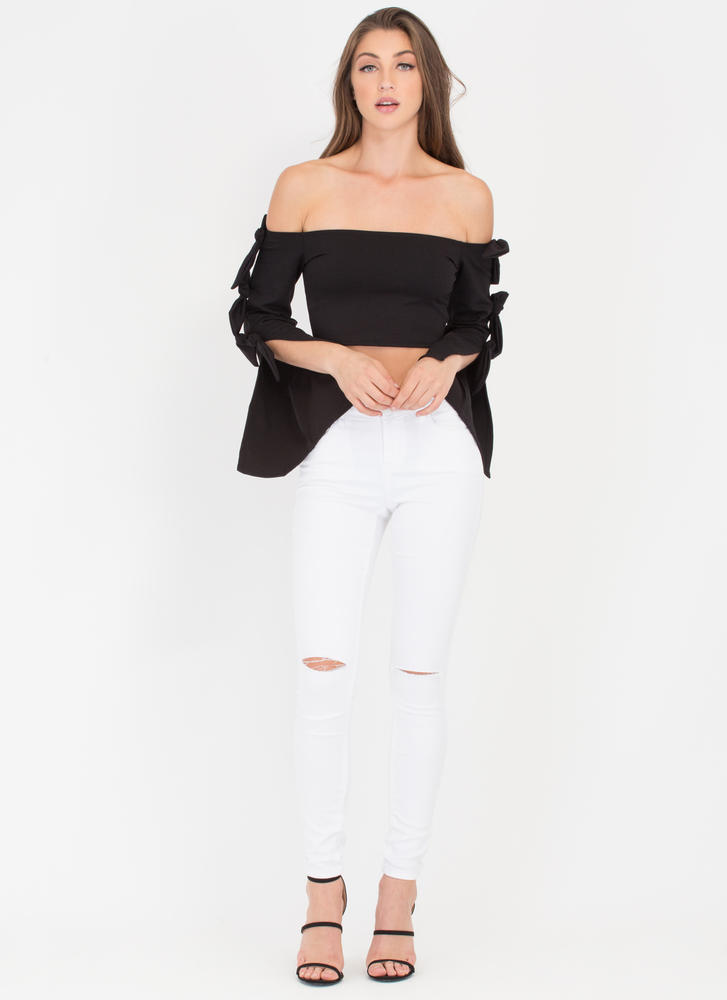 Bow Me A Kiss Off-Shoulder Crop Top BLACK