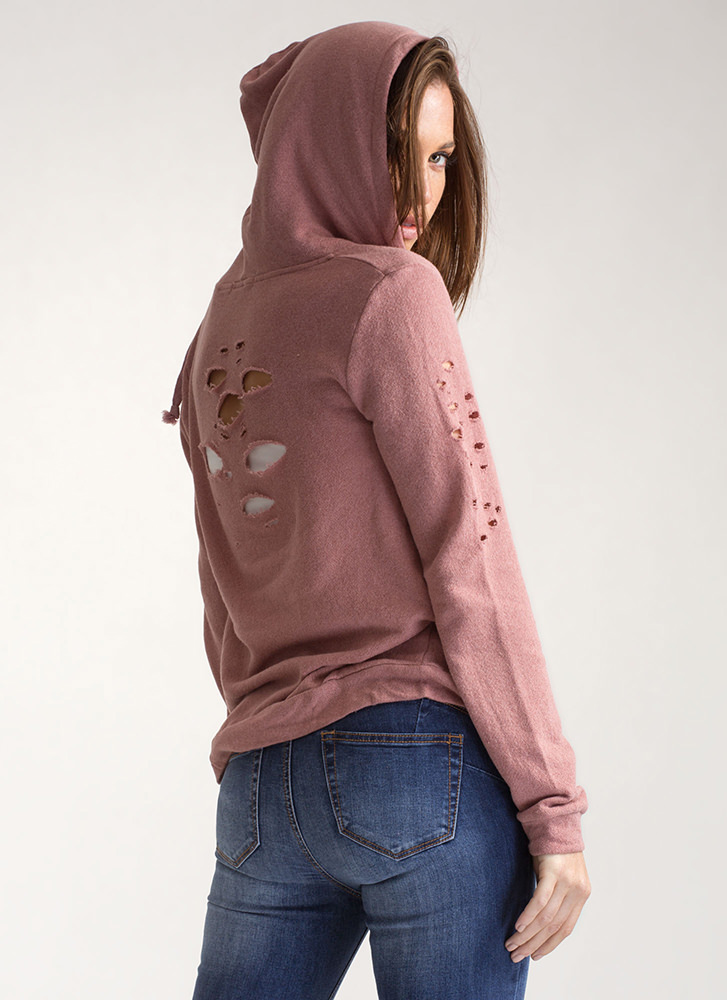The Hole Story Knit Hooded Jacket MAUVE