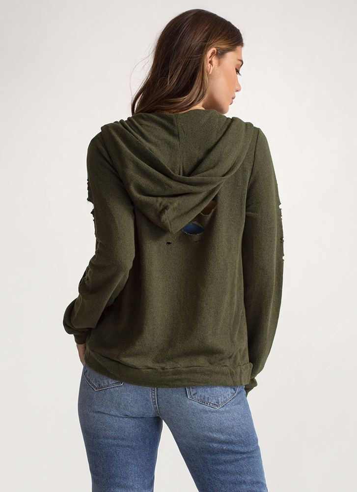 The Hole Story Knit Hooded Jacket OLIVE