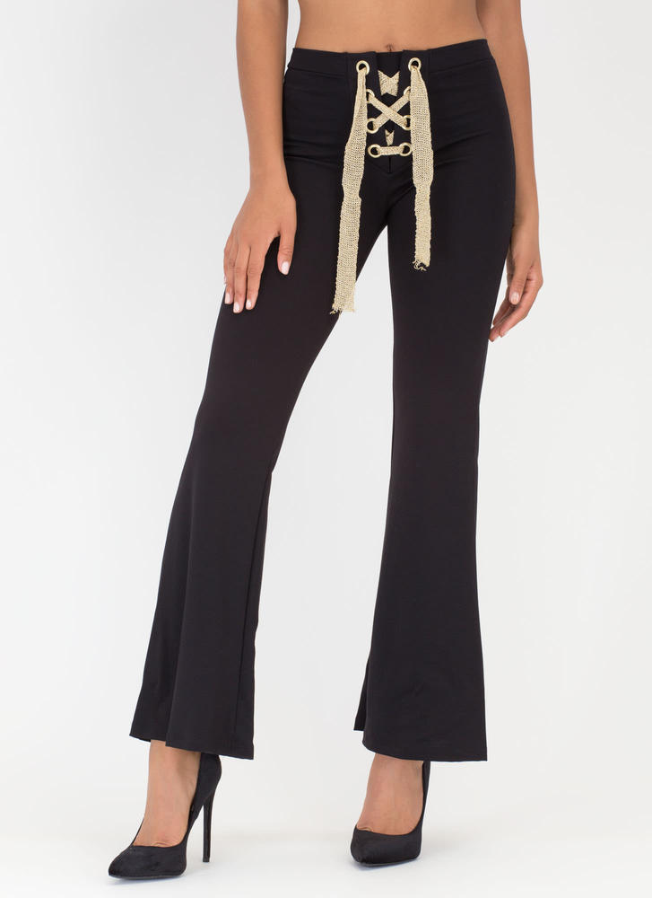 Tying To See You Lace-Up Flared Pants BLACK (Final Sale)