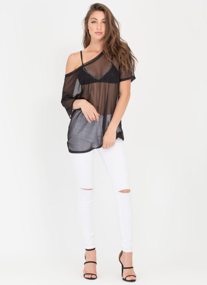 See Thru You Oversized Sheer Mesh Tee BLACK