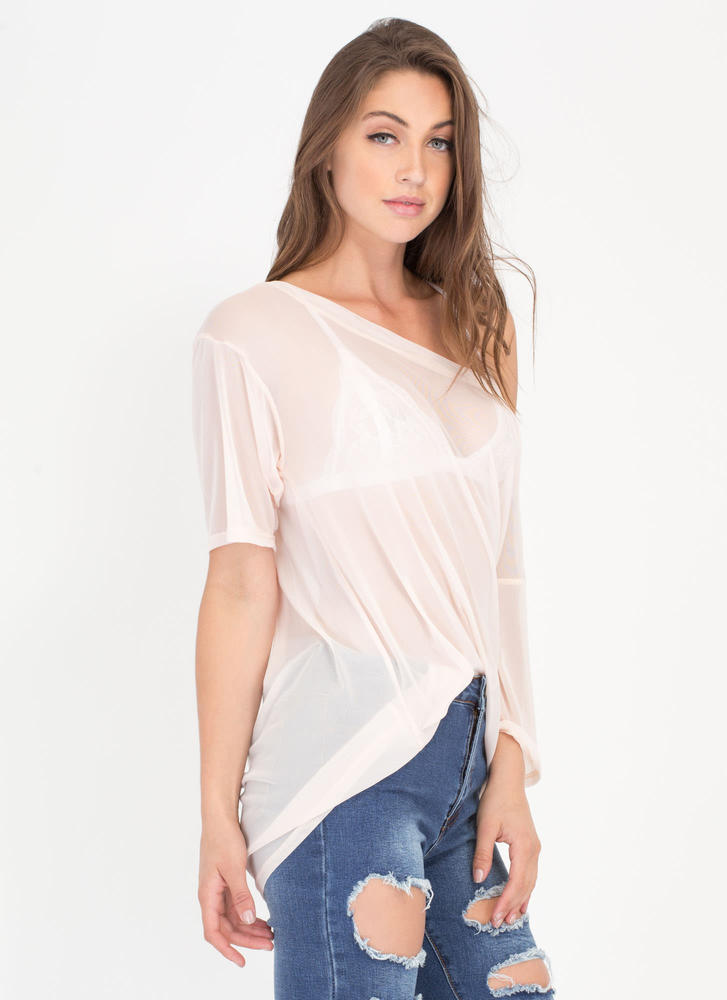 See Thru You Oversized Sheer Mesh Tee NUDE