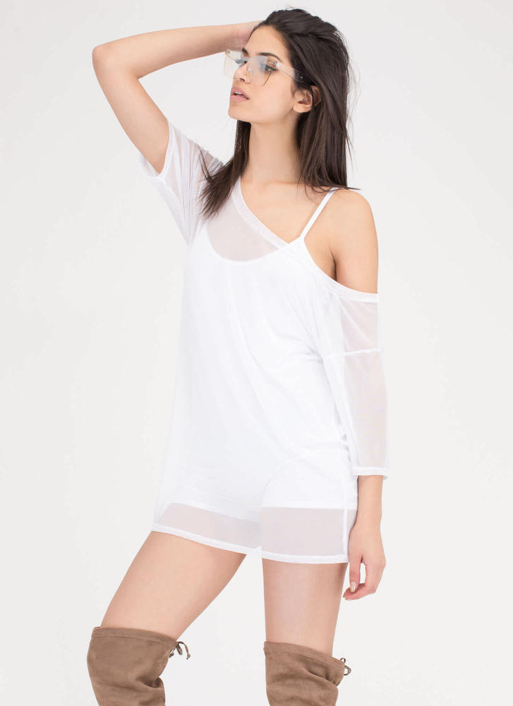 See Thru You Oversized Sheer Mesh Tee WHITE