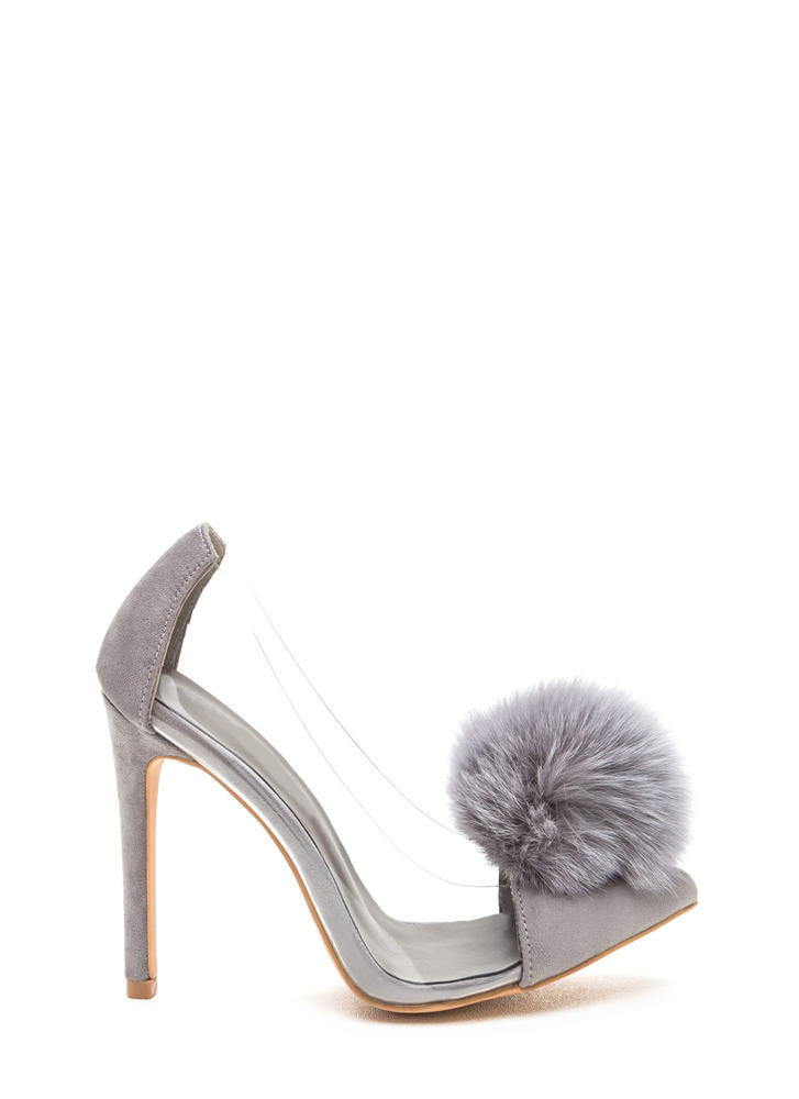 Clearly Pointy Faux Fur Pom-Pom Pumps