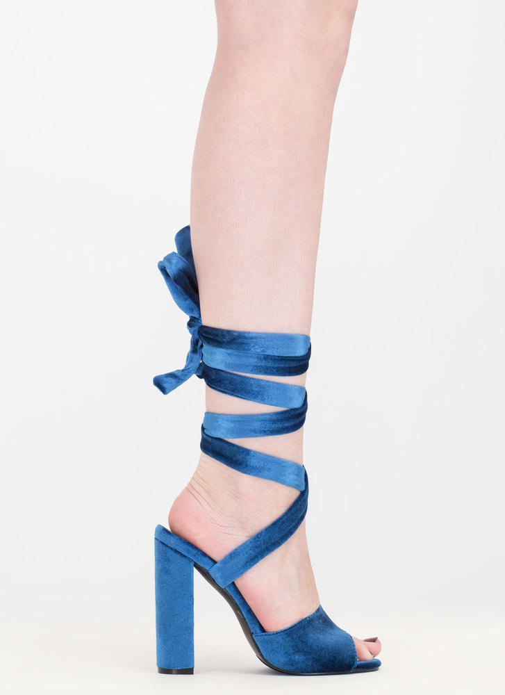 Velvet Victory Chunky Lace-Up Heels BLUE