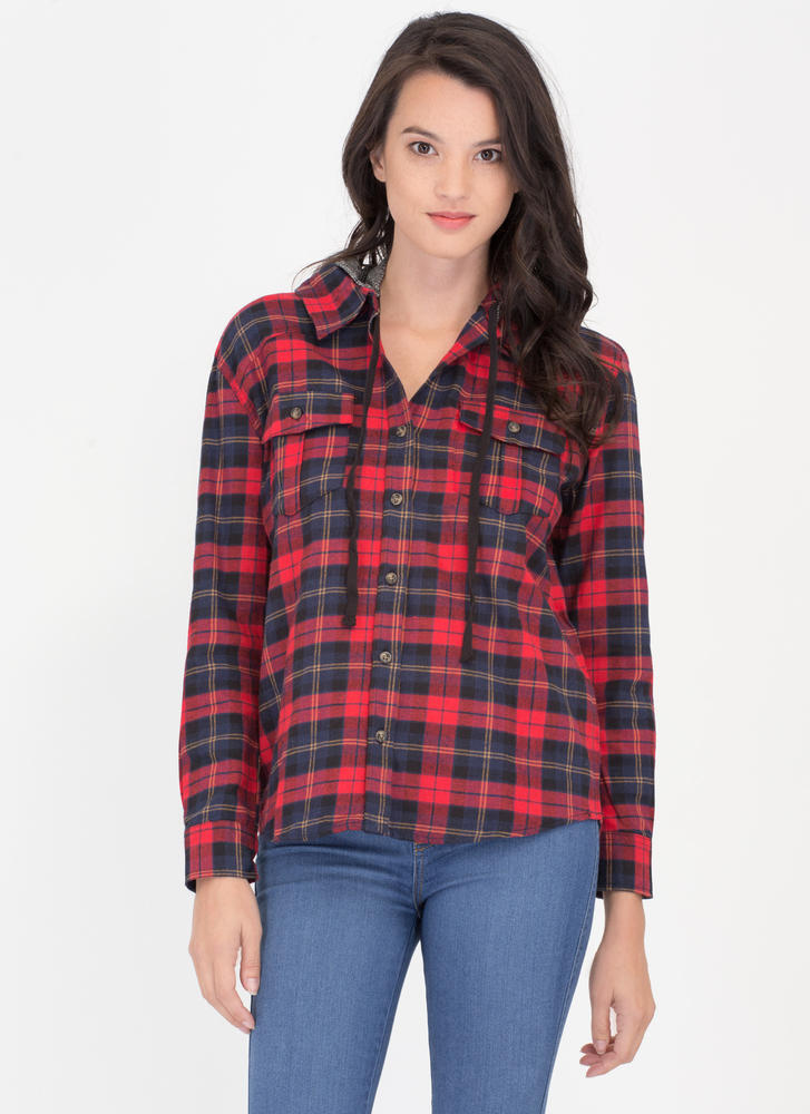 Plaid Props Convertible Hooded Shirt