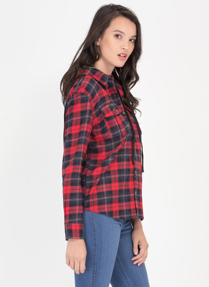 Plaid Props Convertible Hooded Shirt REDBLACK (Final Sale)