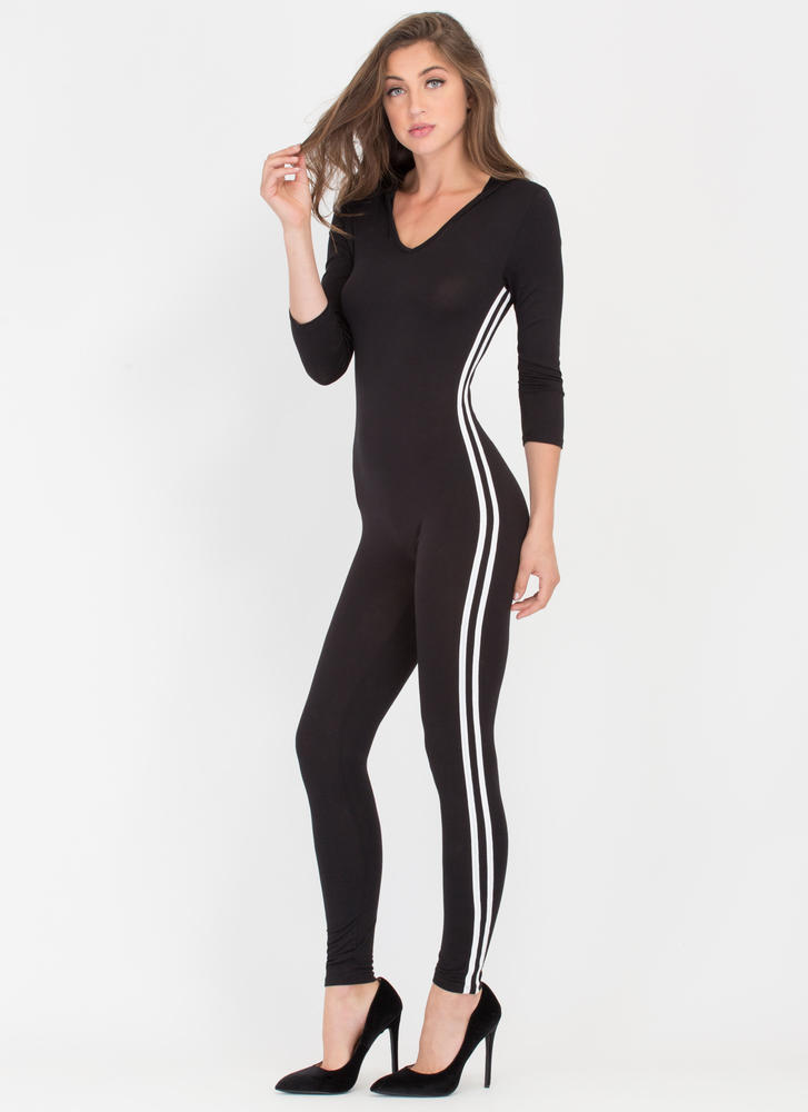 Go On Stripes Hooded Full Bodysuit BLACK