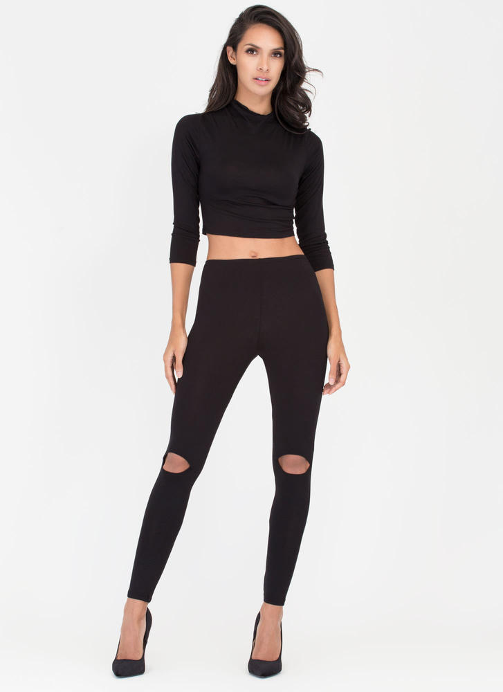 Slit Personality Top And Legging Set BLACK