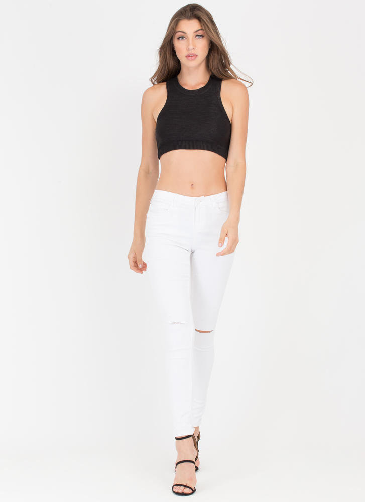 All The Small Things Knit Crop Top BLACK