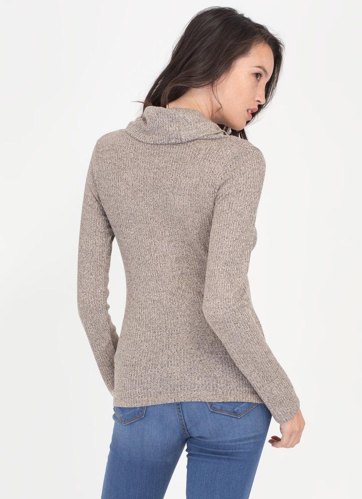 Cozy Feeling Cowl Neck Knit Top TAUPE